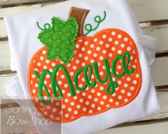 Pumpkin shirt or bodysuit for girls and baby girls -- Pumpkin Patch -- orange polka dot pumpkin with pretty leaf detail and name in green