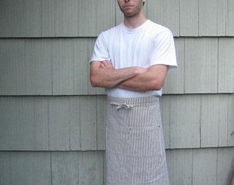 Handmade Apron Black White Cotton Ticking Stripes Waist
