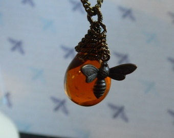Bee and Amber Czech Glass Drop Natural Brass Long Necklace - With Hard Work We Earn the Gold