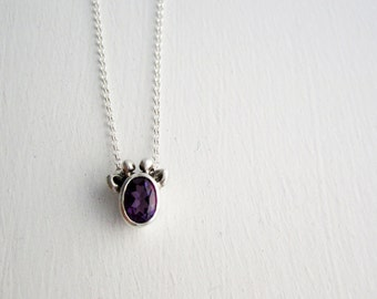 Purple Giraffe Necklace, Amethyst and Sterling Silver