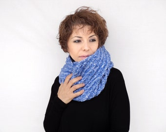Winter Sale - Blue Knitting Cowl - Blue Hand Knit Neckwarmer - Blue Circle Scarf - Winter Accessories, ready to ship