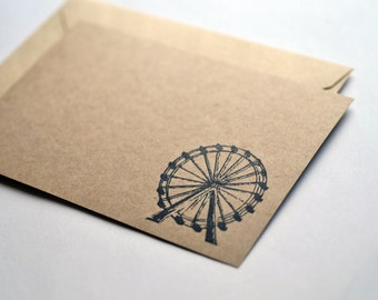 Ferris Wheel Note Cards // Blank Cards // Vintage Look // Kraft Stationary // Just Because // Thank You Cards // A2