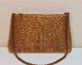 """Vintage Bijoux Terner Gold Beaded Formal Handbag 8.5"""" Wide 5"""" Tall 19"""" Strap Previously Twenty Five Dollars ON SALE"""