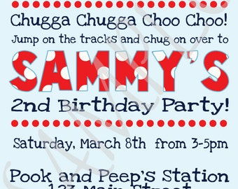 Printed Train Themed Personalized Birthday or Baby Shower Invitation in Blue, Red, and Navy with Envelopes