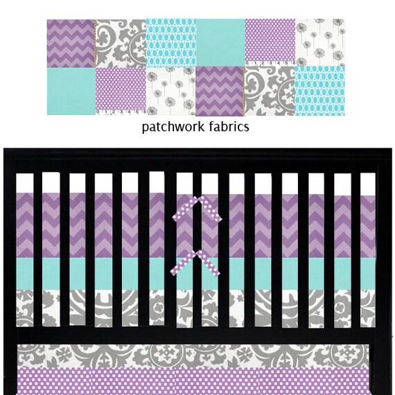 Custom Baby Bedding Aqua Purple And Grey Crib By Gigglesixbaby