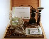 Shaving Kits with Badger Brush, Hand Turned Safety Razor and Stand Personalized Groomsmen Kits