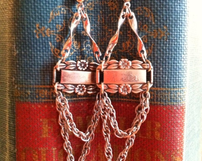 WWII Sweetheart earrings ~ Sterling Silver Sweetheart Earrings upcycled from WWII bracelet