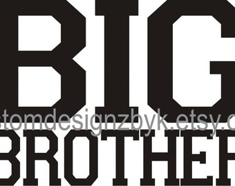 Big Brother shirt decal transfer Jersey style design for DARK fabric