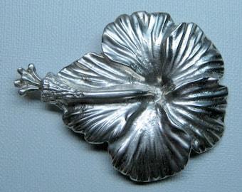 vintage MINGS STERLING of hawaii HIBISCUS pin brooch