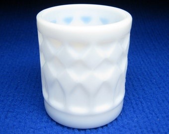 OPALESCENT white glass toothpick holder with a diamond pattern
