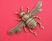 1-Large Bee Bug Insect Ox  Brass Stamping Ornament Pendant Jewelry Findings.