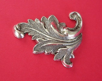 2-Ox Silver over  Brass Stamping  Leaf Flourish Scroll Jewelry Findings.