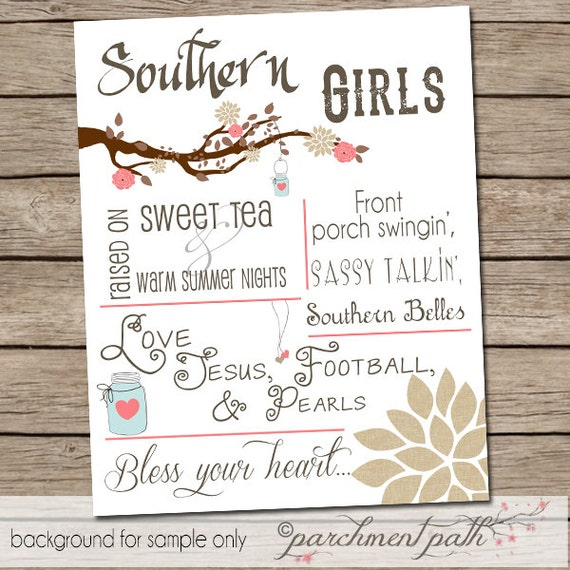 Southern Girl Sayings And Quotes: Southern Girls Wall Art Print Quote Art By Parchmentpath