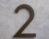 Modern House Number Aluminum Modern Font Number TWO 2 in Bronze