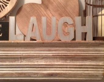Wooden Letters - Free-standing - Ariel Font - 10cm - LAUGH