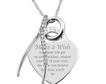 Make a Wish Sterling Silver Heart Necklace Personalised/Engraved