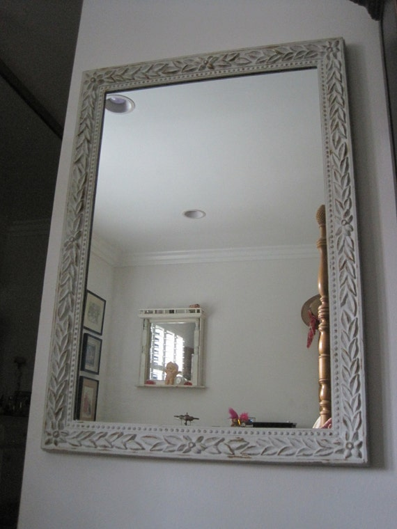 Large Vintage Framed Mirror in Gilded and Distressed Dove Grey