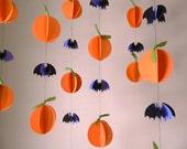 Halloween Garland/ Paper Garland/ Halloween Decorations/ 3D Pumpkins and Bats Paper Garland/Fall Decor/ Photo Prop/ Window Decor