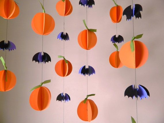 Halloween garland paper garland halloween by - Decoration halloween a fabriquer ...