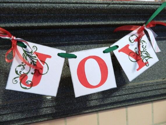 Joy Garland - JOY Holiday Banner- Christmas Banner - Christmas Decorations -Holiday Photo Prop-Christmas Decorations