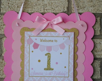 Golden First Birthday Door Sign