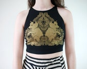 Gold Metallic Fox Pups Screen Print Botanical Punk Crop Top