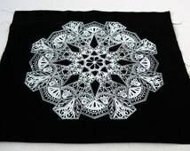Floral Mandala Sew On Punk Back Patch in Black