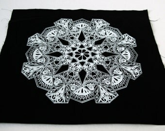 Floral Mandala Sew On Punk Back Patch in Black