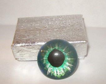 Teal Silver eyeball anatomy taxidermy loose human eye cabochon glass tile evil eye repellent ooak for wire wrapping