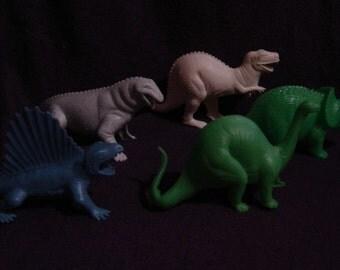 vintage Tootsie Toy dinosaurs brontosaurus dimetrodon moschops triceratops Tyrannosaurus Trex hollow plastic mighty monsters