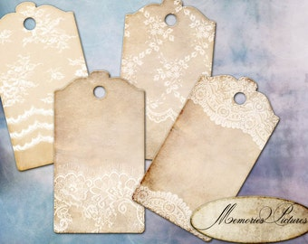 Tags instant download printable gift tags, labels  // vintage shabby chick , lace // tattered  //  digital Collage Sheet 178