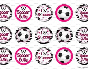 "15 Soccer Cutie Digital Download for 1"" Bottle Caps (4x6)"