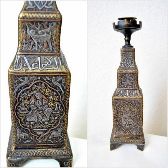 Antique Candelabra Mamluk Silver Islamic Candle Holder 19th century Persian Unique Bronze Candelstick Enamel Gilded Ottoman Art Deco