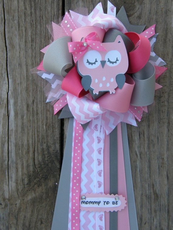 Owl baby shower owl corsage by bonbow on etsy for Baby shower door decoration