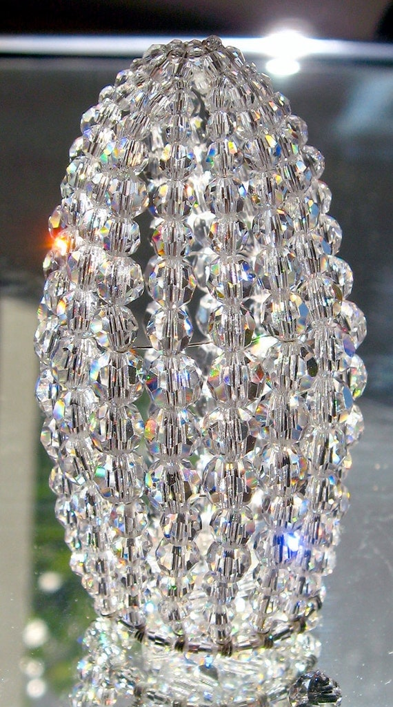 Petite Swarovski Crystal Beaded Light Bulb Cover Chandelier