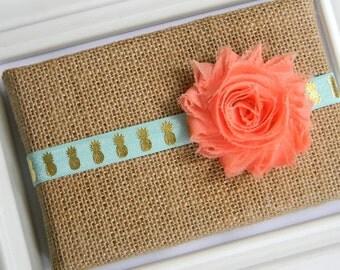 Chiffon Flower Headband - Gold Pineapple Headband - Baby Headband