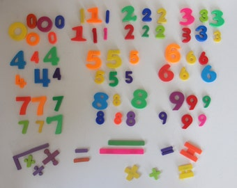 Mixed Set of Vintage Magnetized Numbers and Math Symbols - 73 Piece
