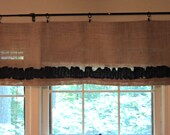 """Natural Burlap Valance with Black Ruffles 28"""" Width up to 100"""" French Country Window Treatments"""