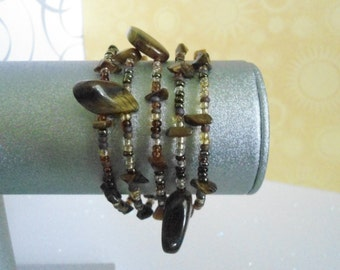 Tiger's Eye memory wire bracelet