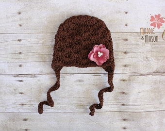 Shell Beanie with Flower, Newborn Photography Prop, Brown with Dusty Rose Flower