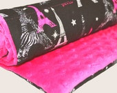 HUGE STORE SALE! Baby Changing Pad in Black and Hot Pink Paris - Changing Mat - Portable Travel Changing Pad