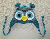 Teal, Grey and Turquoise Crocheted Owl Hat - Photo Prop - Available in Any Size or Color Combination