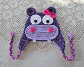 Violet, Light Purple and Hot Pink Crochet Hippo Hat - Photo Prop - Available in Any Size or Color Combination