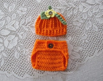Crochet Pumpkin Hat and Diaper Cover Photo Prop Set - With or Without Flower - Available in Newborn to 24 Months