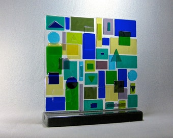 Mid Century Modern Art Glass Geometric Dimensional Patchwork Sculpture Abstract  Artist Signed