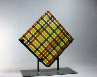 Art Glass Garden Sculpture Sun Catcher Weave Brown Amber and Olive Green Artist Signed