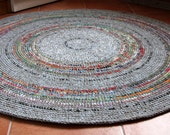 Beautiful round hand crochet wool rug, grey with colorful accents