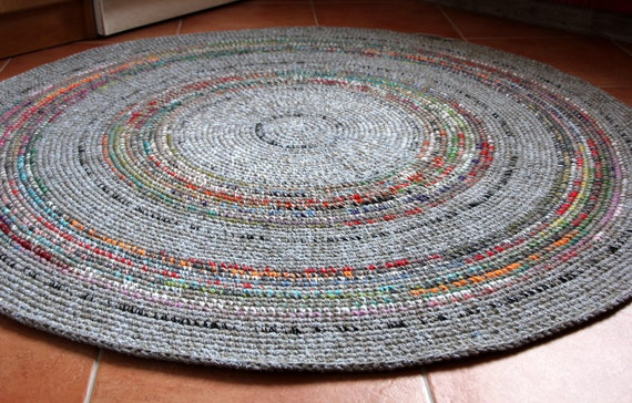 beautiful round hand crochet wool rug grey with colorful. Black Bedroom Furniture Sets. Home Design Ideas