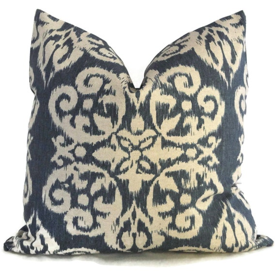 Lacefield Indigo Blue Ikat Decorative Pillow Cover Throw