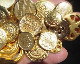 Gold Metal Buttons Vintage Lot Assortment 31 Pieces